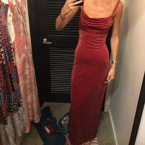 Vintage floor length red shimmer dress